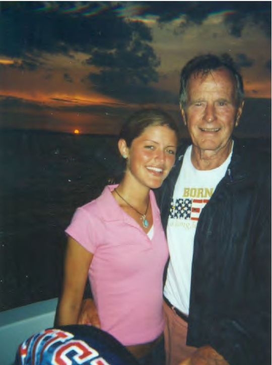 Daughter, Alina-Marie, with President Bush '41 at sunset at his College Station, Texas, Presidential Library